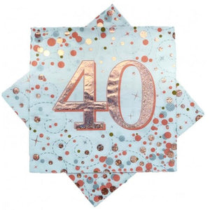 40th Birthday Sparkling Fizz Rose Gold Lunch Napkin