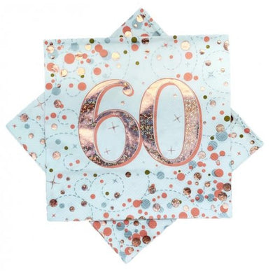 60th Birthday Sparkling Fizz Rose Gold Lunch Napkin