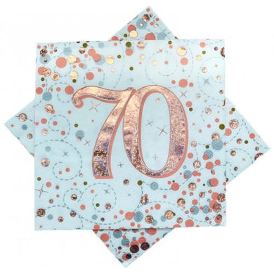 70th Birthday Sparkling Fizz Rose Gold Lunch Napkin