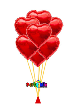 Luxury 7 Red Hearts Helium Bouquet