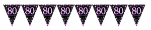 Prismatic Pink Pennant Banner 80th