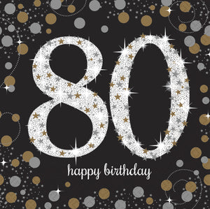 Sparkling Celebration 80th Napkin Black