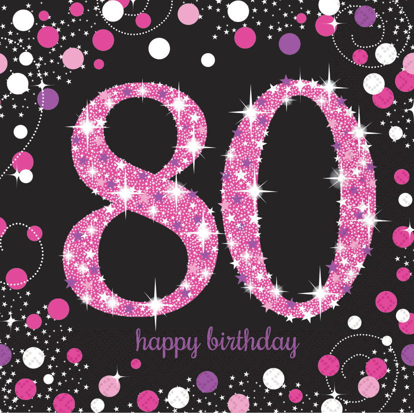 Sparkling Celebration 80th Napkin Pink