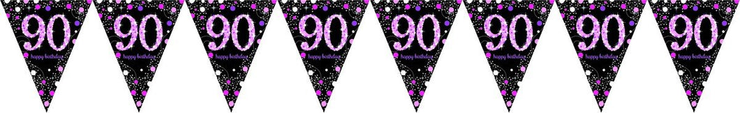 Prismatic Pink Pennant Banner 90th
