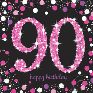 Sparkling Celebration 90th Napkin Pink