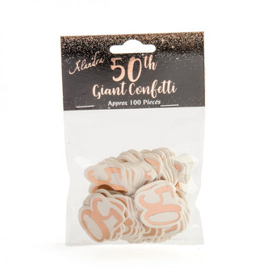 50th Birthday Rose Gold Giant Confetti