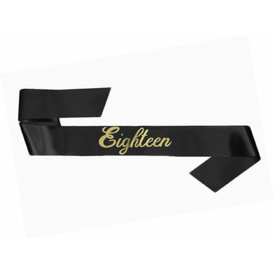 Black 18th Birthday Sash