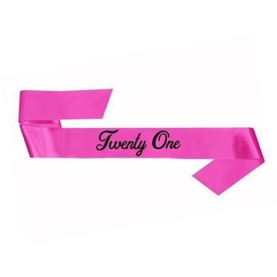 Pink 21st Birthday Sash