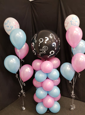 Gender Reveal Balloon Column Setup