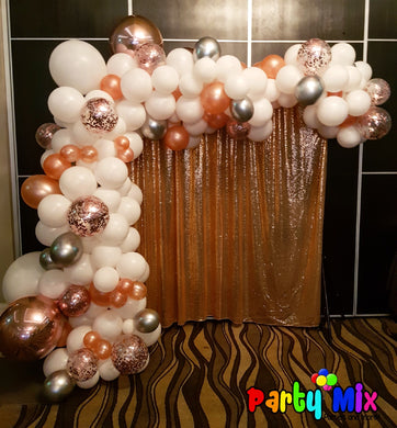 Rose Gold, White and Silver Balloon Garland