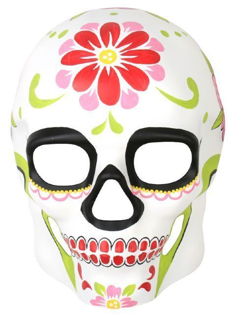Day Of The Dead Cream With Painted Red Flower