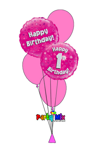 Pink Age Birthday Balloon Bouquet