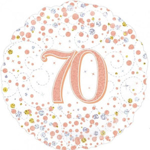 Sparkling Fizz Rose Gold Balloons 70th