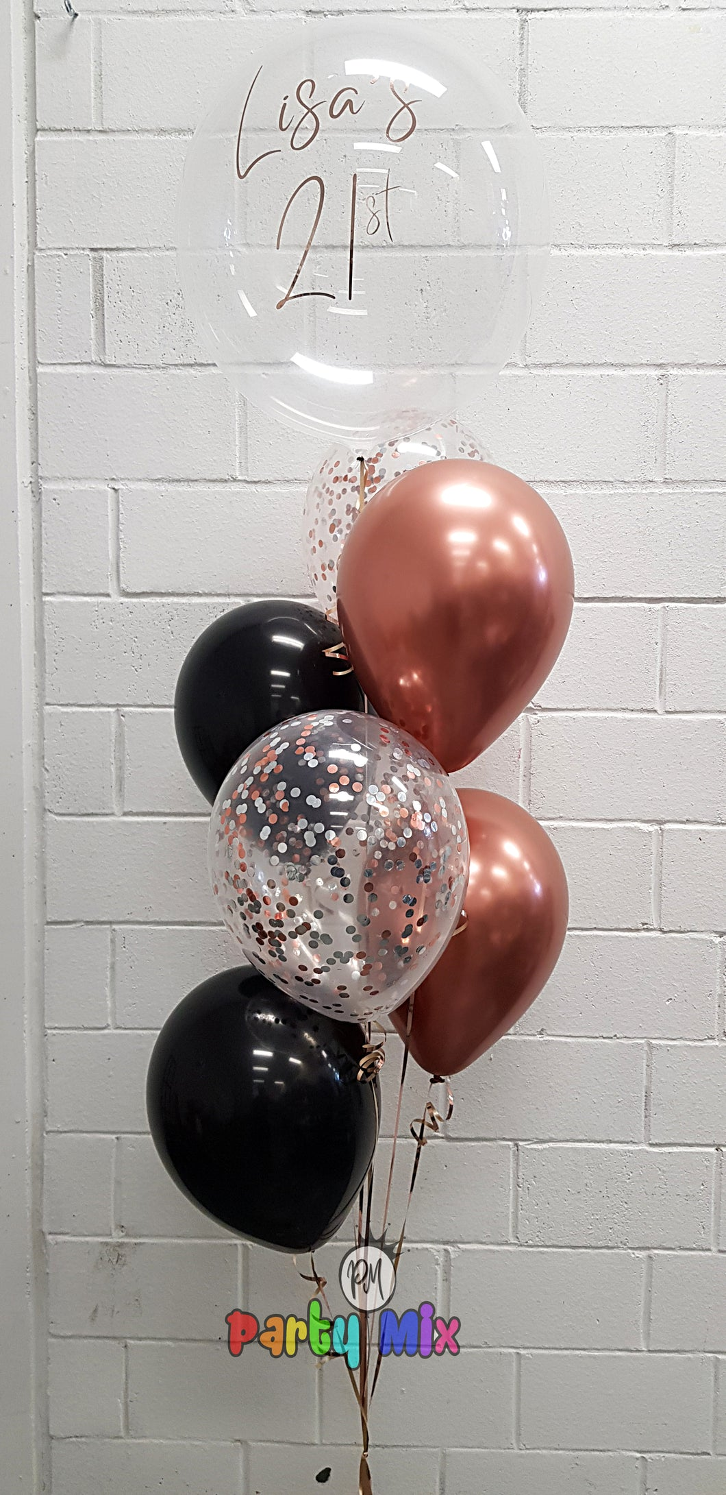 Personalised 51cm Rose Gold Black Balloon Bouquet Party Mix Perth Party Supplies