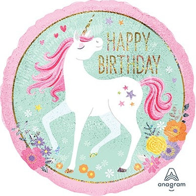 18inch Foil Balloon - Unicorn Happy Birthday