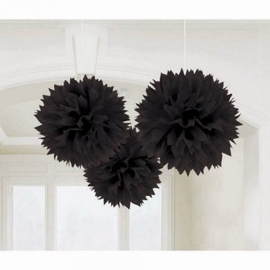 Black Tissue Paper Puff Ball 3pk