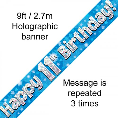 Blue Holographic Happy 11th Birthday Banner 2.7m