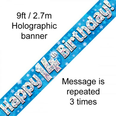Blue Holographic Happy 14th Birthday Banner 2.7m