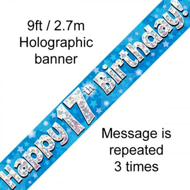 Blue Holographic Happy 17th Birthday Banner 2.7m