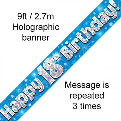 Blue Holographic Happy 18th Birthday Banner 2.7m