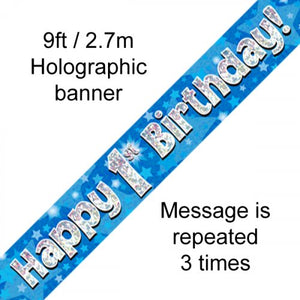 Blue Holographic Happy 1st Birthday Banner 2.7m
