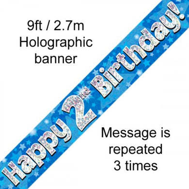 Blue Holographic Happy 2nd Birthday Banner 2.7m