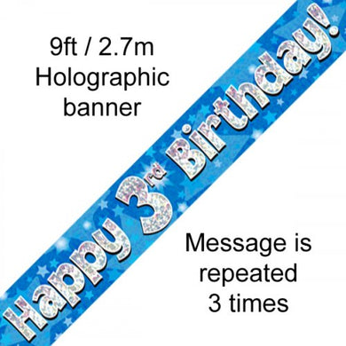 Blue Holographic Happy 3rd Birthday Banner 2.7m