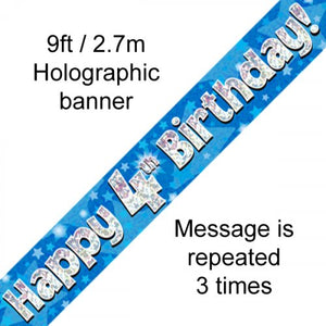 Blue Holographic Happy 4th Birthday Banner 2.7m