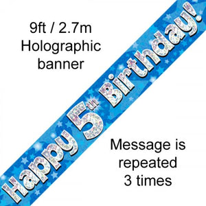 Blue Holographic Happy 5th Birthday Banner 2.7m
