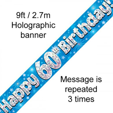 Blue Holographic Happy 60th Birthday Banner 2.7m