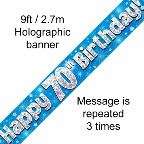 Blue Holographic Happy 70th Birthday Banner 2.7m
