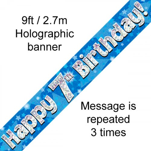 Blue Holographic Happy 7th Birthday Banner 2.7m