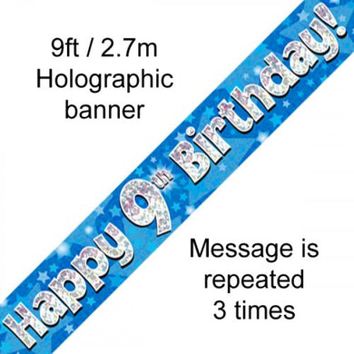 Blue Holographic Happy 9th Birthday Banner 2.7m