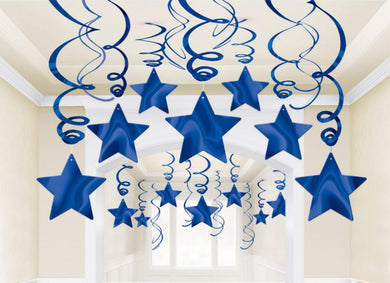 Royal Blue Star Swirl Decoration 30pk