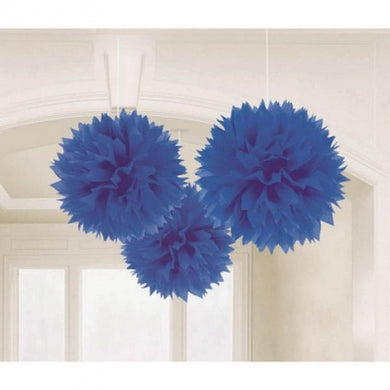 Royal Blue Tissue Paper Puff Ball 3pk