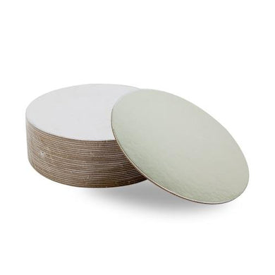Round Compressed Cake Board Silver