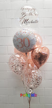 Load image into Gallery viewer, Personalised 61cm Bubble Age Rose Gold Balloon Bouquet