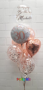 Personalised 61cm Bubble Age Rose Gold Balloon Bouquet
