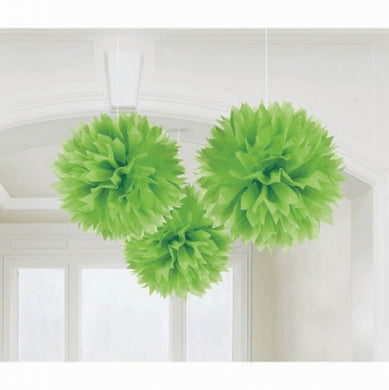 Green Tissue Paper Puff Ball 3pk