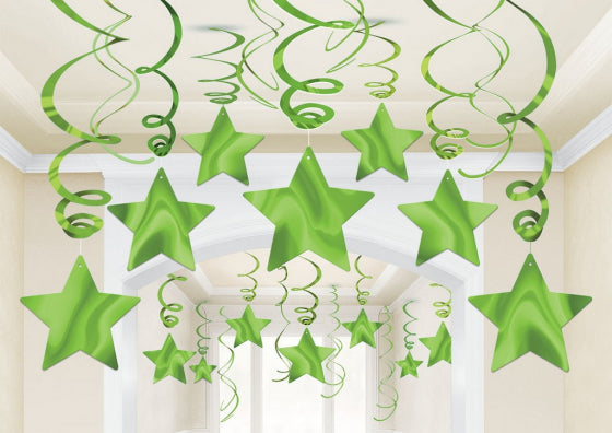Green Star Swirl Decoration 30pk