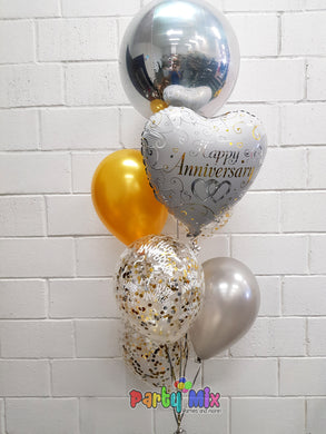 Gold & Silver Happy Anniversary Bouquet