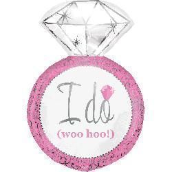 I Do Ring Pink Supershape Foil Balloon