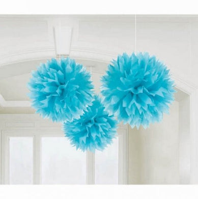 Light Blue Tissue Paper Puff Ball 3pk