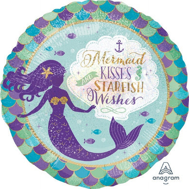 18inch Foil Balloon -  Mermaid Kisses & Wishes