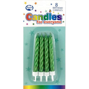 Metallic Green Jumbo Candles with holders P8