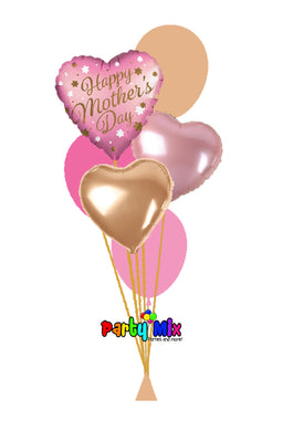 Mother's Day Rose Gold Heart Balloon Bouquet