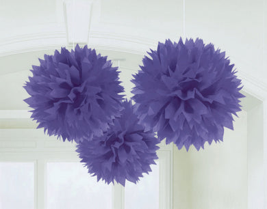 Purple Tissue Paper Puff Ball 3pk