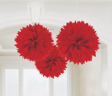 Red Tissue Paper Puff Ball 3pk