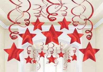Red Star Swirl Decoration 30pk