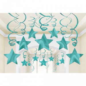 Light Blue (Robins Egg Blue) Star Swirl Decoration 30pk